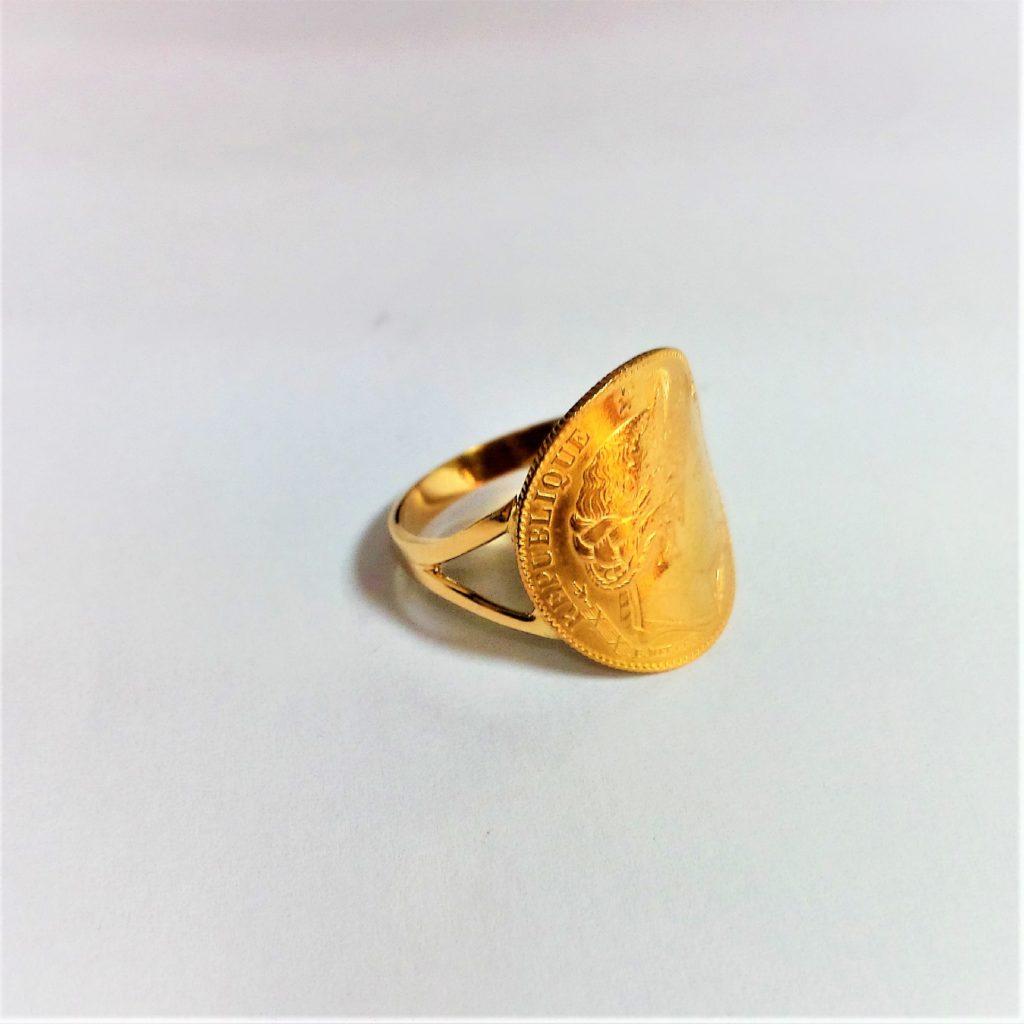 bague or jaune porte pièce les bijoux de mel artisan bijoutier joaillier création sur mesure - Or