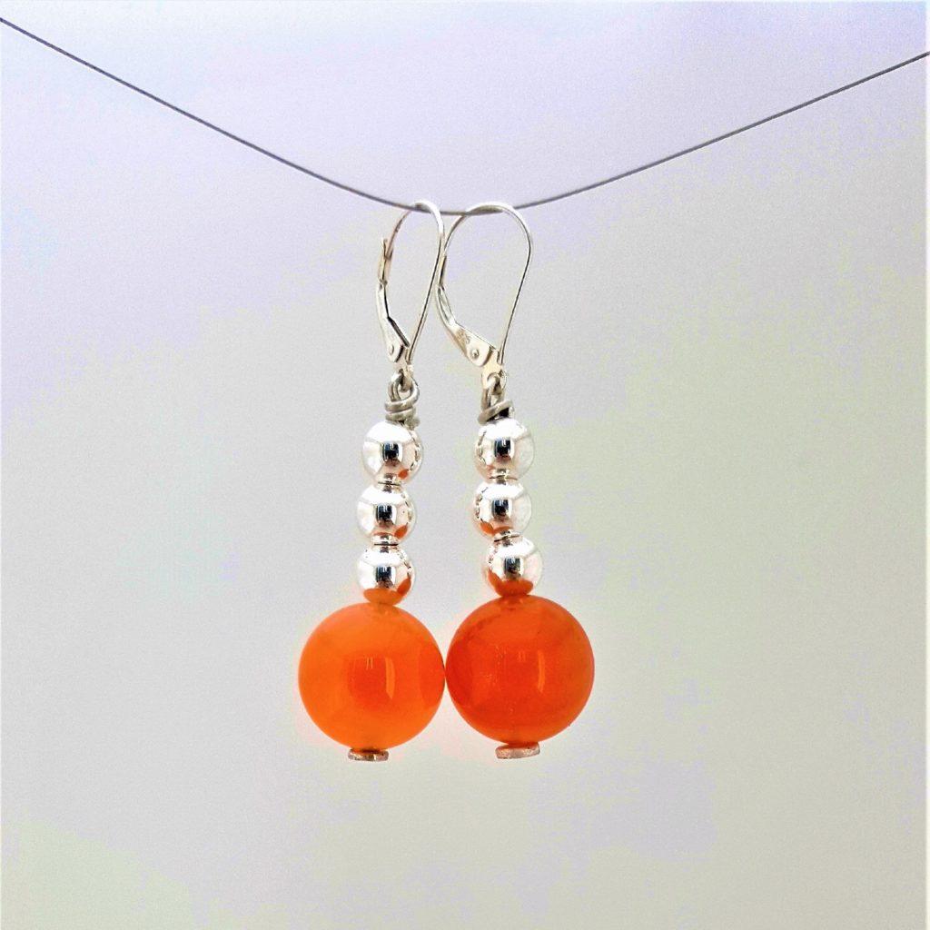 Boucles d'oreilles Potalas argent 925 Cornaline les bijoux de mel artisan bijoutier joaillier création sur mesure