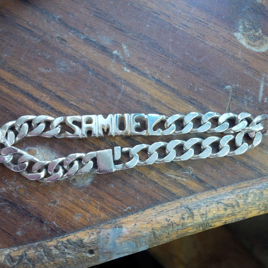 Gourmette homme soudure prénom les bijoux de mel artisan bijoutier joaillier réparation