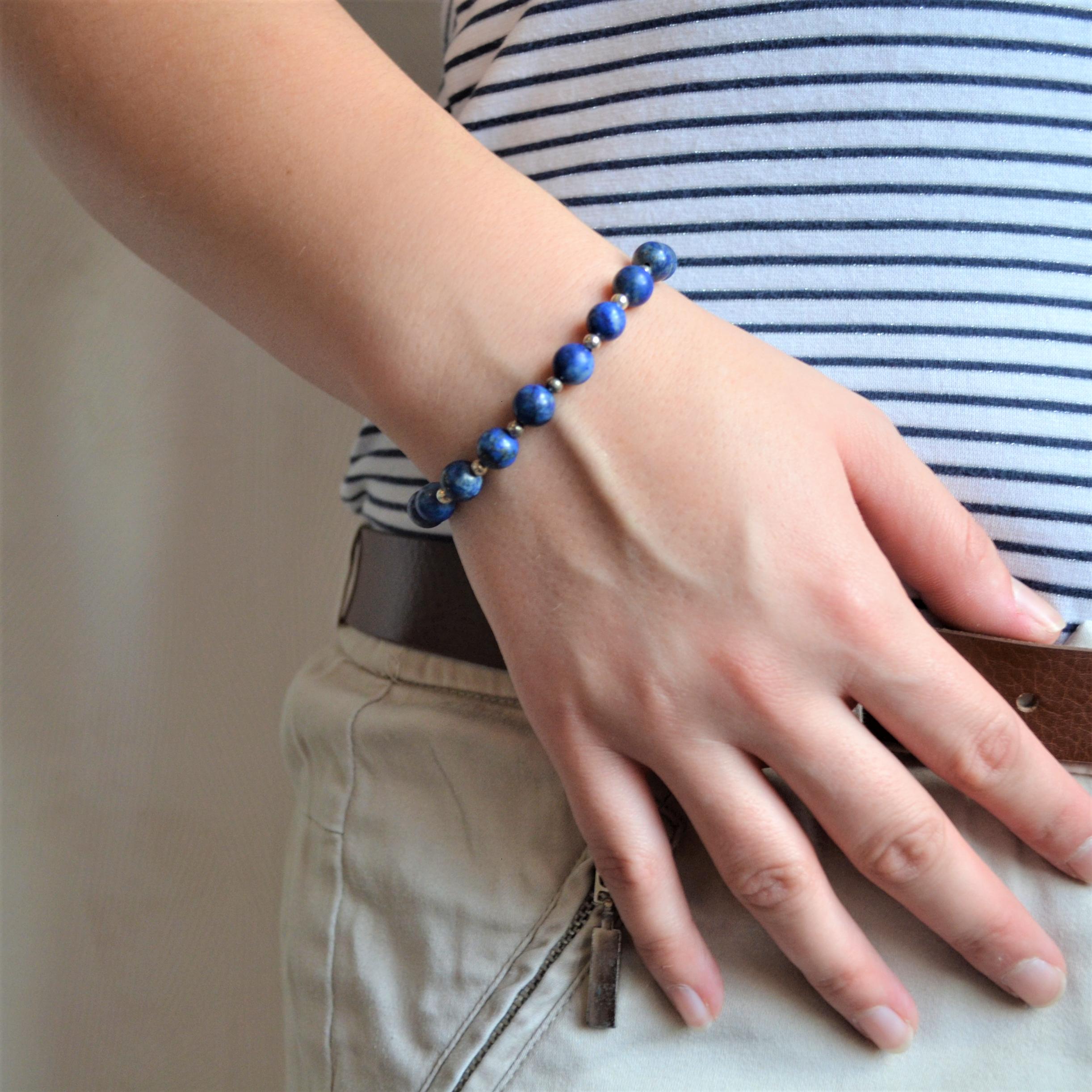 Fantaisie- Bracelet-Lapis lazuli les bijoux de mel artisan bijoutier joaillier création sur mesure