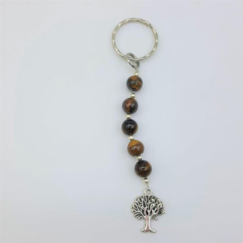 Fantaisie-Porte Clés- Oeil de Tigre -Arbre de Vie les bijoux de mel artisan bijoutier joaillier création sur mesure